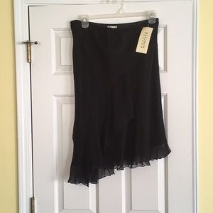 Black silk layered skirt.